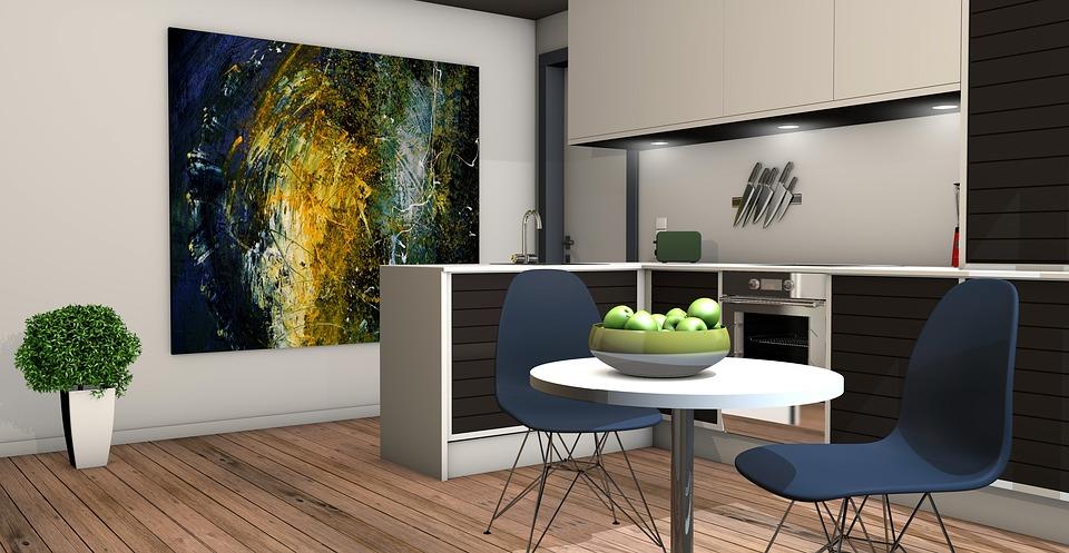kuchyňa a obývačka